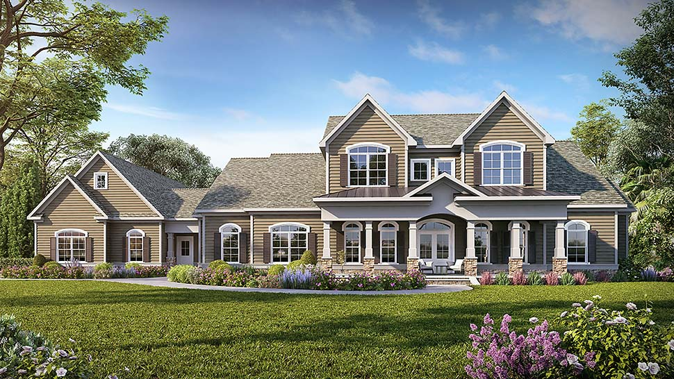 Craftsman, Traditional House Plan 60069 with 5 Beds, 5 Baths, 3 Car Garage