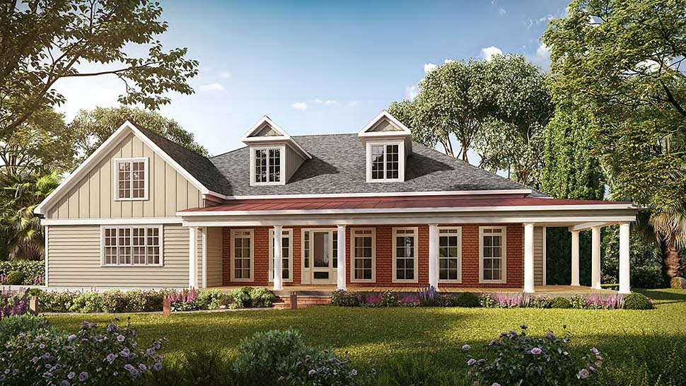Farmhouse House Plan 60076 with 4 Beds, 4 Baths, 3 Car Garage Elevation