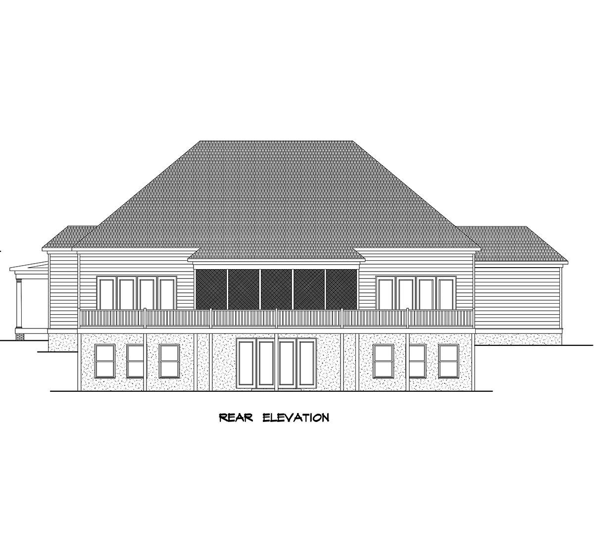 Farmhouse Rear Elevation of Plan 60076