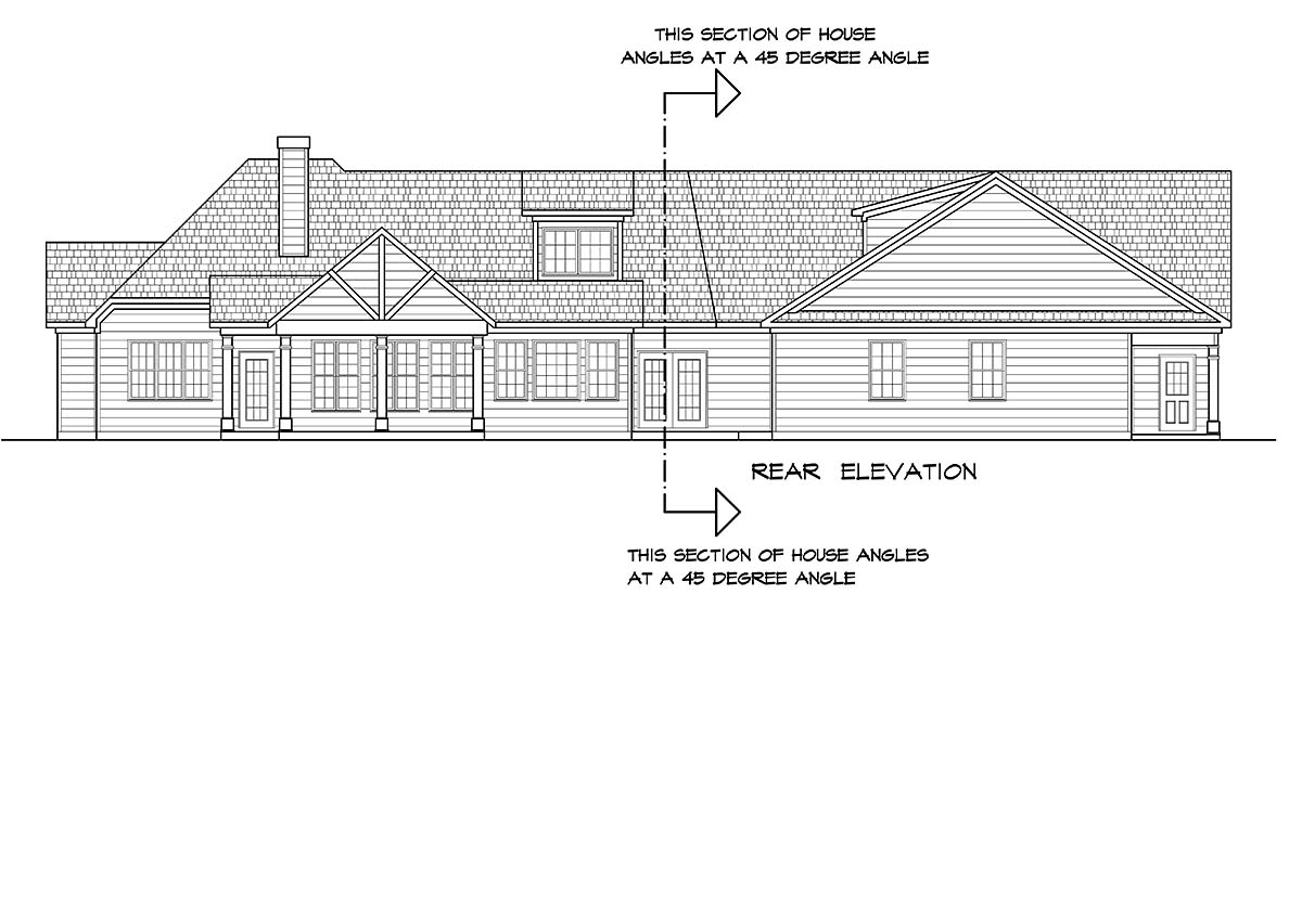Craftsman House Plan 60077 with 4 Beds, 4 Baths, 3 Car Garage Rear Elevation