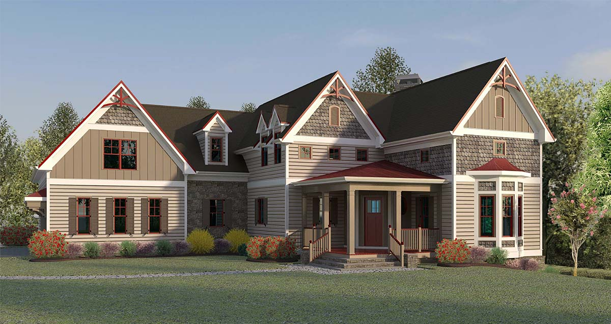 Country , Farmhouse , Victorian , Elevation of Plan 60078