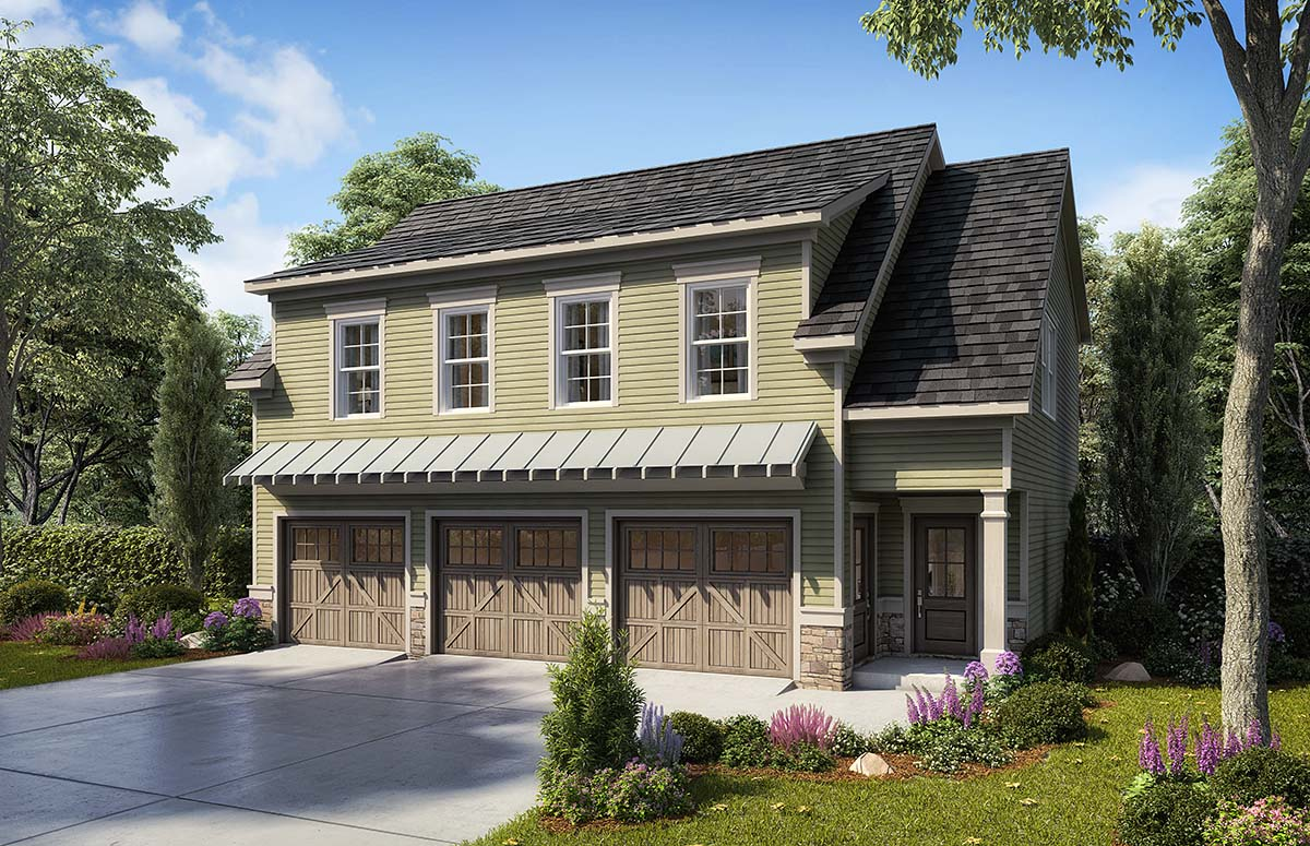 Country, Craftsman, Traditional 3 Car Garage Apartment Plan 60079 with 2 Beds , 3 Baths Elevation