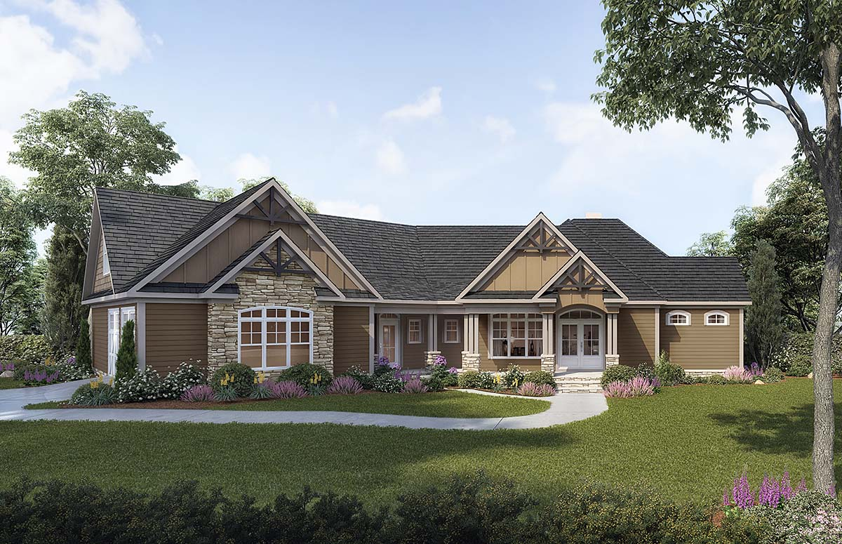 Craftsman, One-Story, Ranch House Plan 60080 with 3 Beds , 4 Baths , 2 Car Garage Elevation