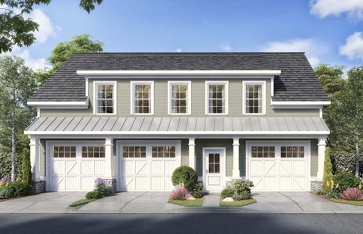 Country, Traditional 3 Car Garage Apartment Plan 60081 with 1 Beds, 2 Baths Elevation