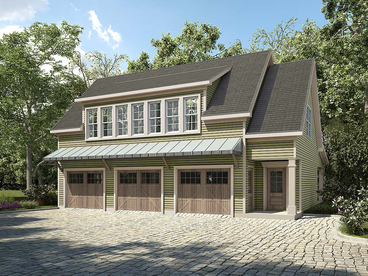 Country, Craftsman, Traditional 3 Car Garage Apartment Plan 60083 with 2 Beds, 2 Baths