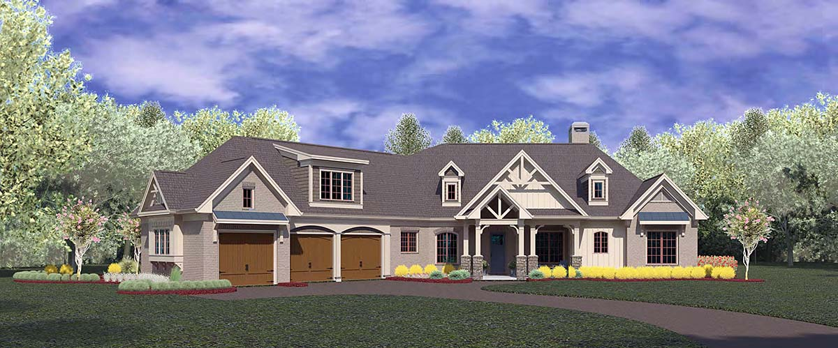 Craftsman, Ranch House Plan 60084 with 4 Beds, 4 Baths, 3 Car Garage Front Elevation