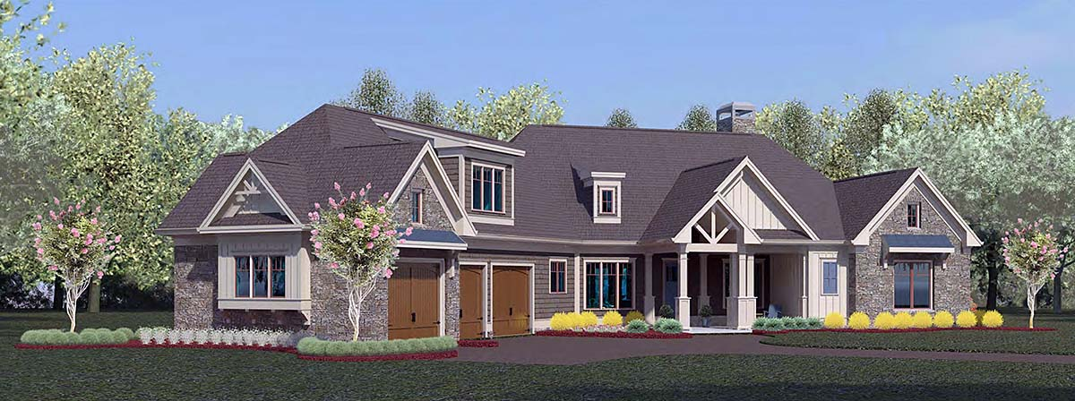 Craftsman, Ranch House Plan 60085 with 4 Beds, 4 Baths, 3 Car Garage Front Elevation