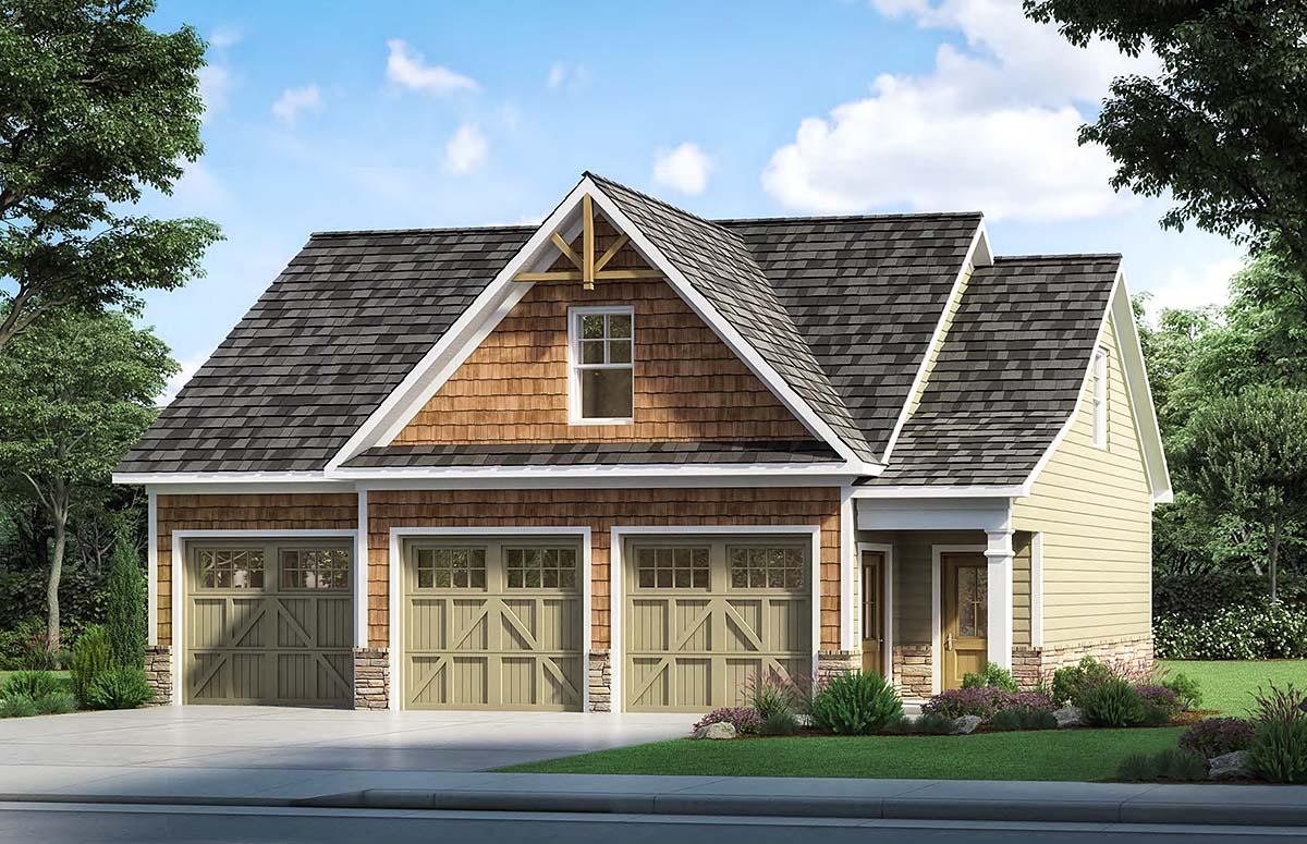 Craftsman, Traditional 3 Car Garage Plan 60087 Elevation