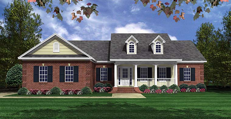 Country , Craftsman House Plan 60100 with 3 Beds, 2 Baths, 2 Car Garage Elevation