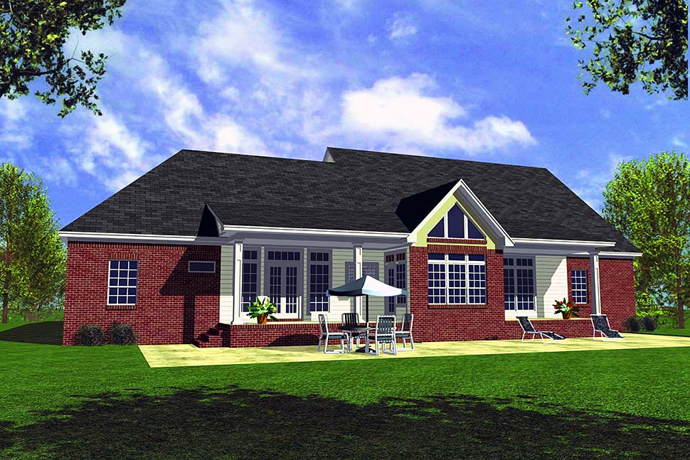 Country, Traditional House Plan 60104 with 3 Beds, 3 Baths, 2 Car Garage Rear Elevation