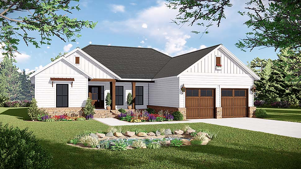 Country Farmhouse Ranch Traditional House Plan 60105 Elevation