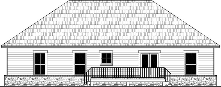 Country Farmhouse Ranch Traditional Rear Elevation of Plan 60105