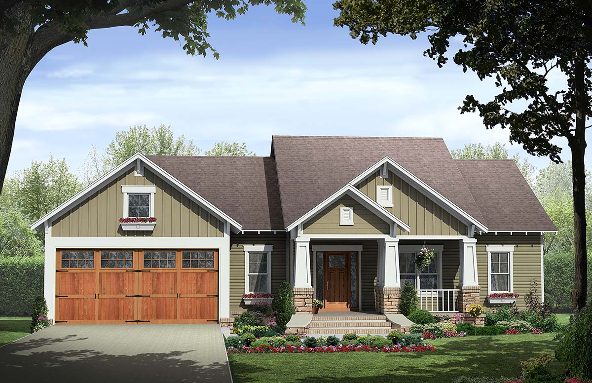 Cottage, Country, Craftsman House Plan 60107 with 3 Beds, 2 Baths, 2 Car Garage Front Elevation