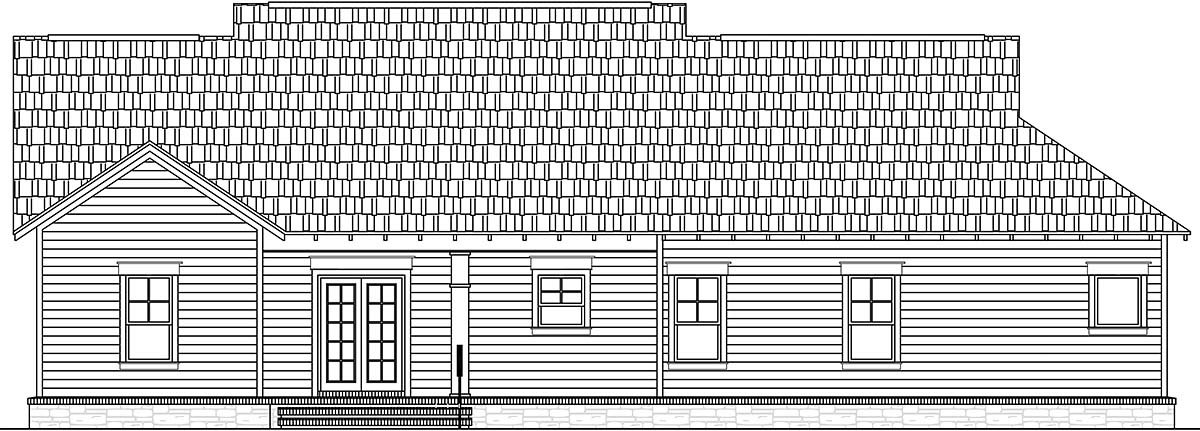 Cottage, Country, Craftsman House Plan 60107 with 3 Beds, 2 Baths, 2 Car Garage Rear Elevation