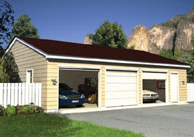 Ranch , Traditional 3 Car Garage Plan 6012 Elevation