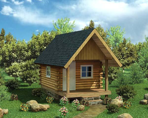 Cabin Log House Plan 6024 Elevation
