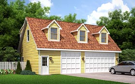 Traditional , Cape Cod 3 Car Garage Apartment Plan 6026 with 2 Beds, 1 Baths Elevation