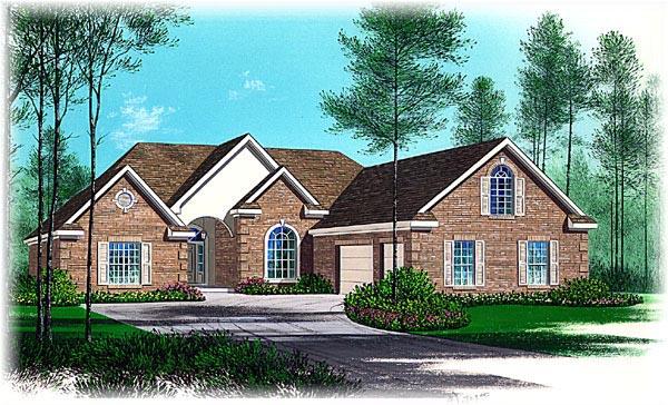 European House Plan 60265 with 4 Beds, 3 Baths, 3 Car Garage Elevation