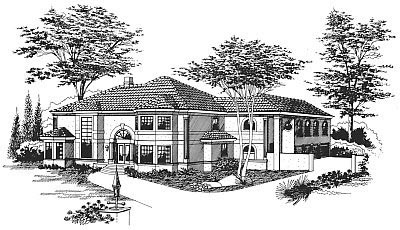 Mediterranean House Plan 60345 with 5 Beds, 4 Baths, 5 Car Garage Front Elevation
