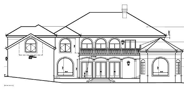 Mediterranean House Plan 60345 with 5 Beds, 4 Baths, 5 Car Garage Rear Elevation