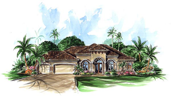 House Plan 60402 | Florida Mediterranean Style Plan with 2566 Sq Ft, 3 Bedrooms, 3 Bathrooms, 3 Car Garage Elevation