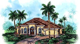 Mediterranean , Florida House Plan 60404 with 3 Beds, 3 Baths, 2 Car Garage Elevation