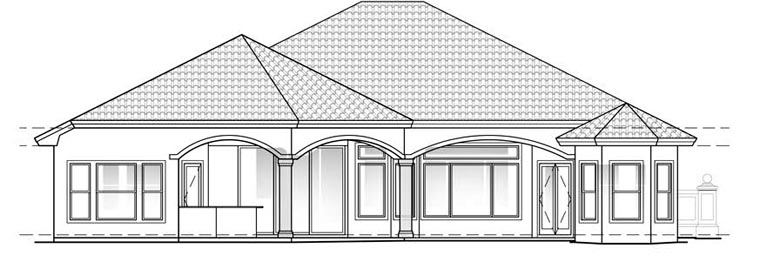Mediterranean , Florida House Plan 60404 with 3 Beds, 3 Baths, 2 Car Garage Rear Elevation