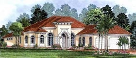 House Plan 60405 | Mediterranean Style Plan with 2885 Sq Ft, 3 Bedrooms, 3 Bathrooms, 3 Car Garage Elevation