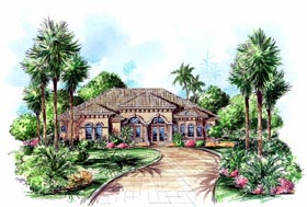 House Plan 60408 | Florida Mediterranean Style Plan with 3154 Sq Ft, 3 Bedrooms, 3 Bathrooms, 3 Car Garage Elevation