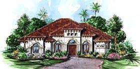 House Plan 60409 | Florida Mediterranean Style Plan with 3274 Sq Ft, 4 Bedrooms, 3 Bathrooms, 2 Car Garage Elevation