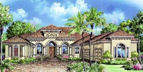 Florida , Mediterranean House Plan 60412 with 3 Beds, 4 Baths, 3 Car Garage Elevation