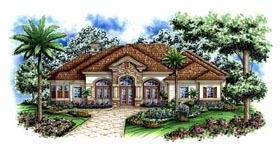 House Plan 60414 | Florida Mediterranean Style Plan with 3742 Sq Ft, 3 Bedrooms, 3 Bathrooms, 3 Car Garage Elevation