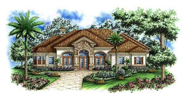 Florida, Mediterranean House Plan 60414 with 3 Beds, 3 Baths, 3 Car Garage Elevation