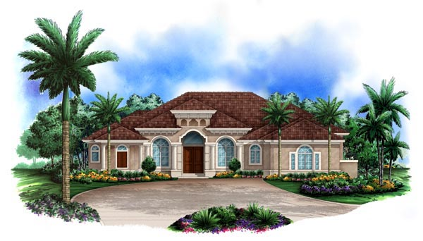 Florida, Mediterranean House Plan 60416 with 4 Beds, 5 Baths, 3 Car Garage Elevation