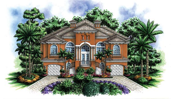 Coastal Florida Mediterranean House Plan 60422 Elevation