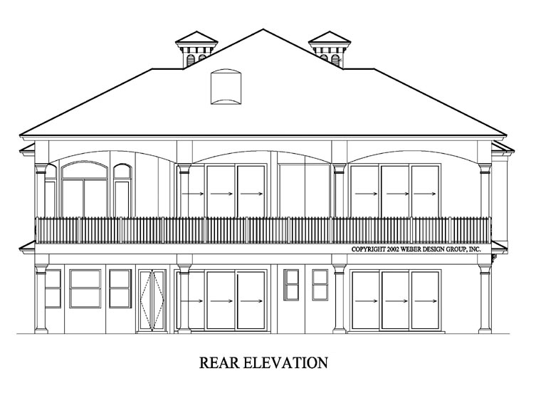 Coastal Florida Mediterranean House Plan 60422 Rear Elevation