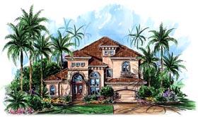 House Plan 60423 | Florida Mediterranean Style Plan with 3430 Sq Ft, 4 Bedrooms, 4 Bathrooms, 3 Car Garage Elevation