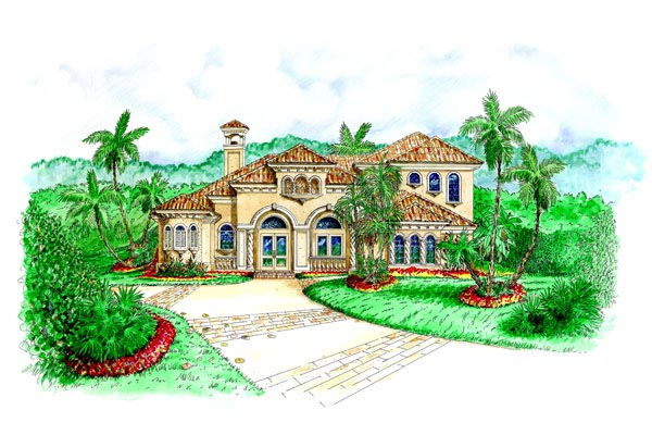 Florida, Mediterranean House Plan 60431 with 3 Beds, 5 Baths, 3 Car Garage Elevation