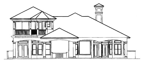 Florida, Mediterranean House Plan 60431 with 3 Beds, 5 Baths, 3 Car Garage Rear Elevation