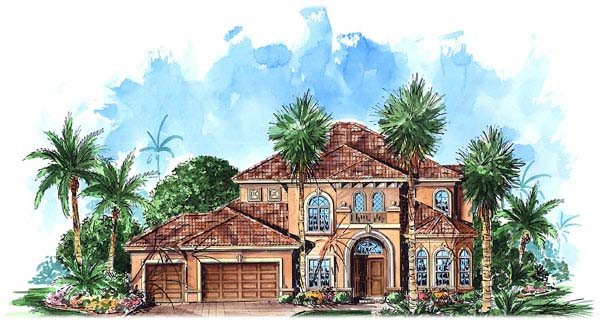 Florida, Mediterranean House Plan 60436 with 4 Beds, 4 Baths, 3 Car Garage Elevation