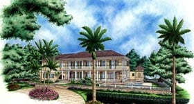 Florida Mediterranean Plantation House Plan 60438 Elevation