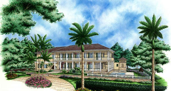 Florida, Mediterranean, Plantation House Plan 60438 with 4 Beds, 5 Baths, 3 Car Garage Elevation