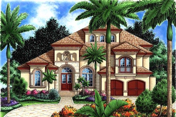 Mediterranean , Florida House Plan 60441 with 5 Beds, 5 Baths, 2 Car Garage Elevation