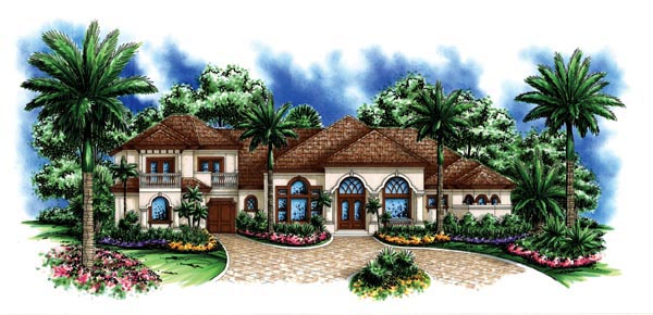 Florida , Mediterranean House Plan 60442 with 5 Beds, 4 Baths, 3 Car Garage Elevation