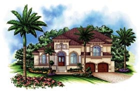 House Plan 60443 | Florida Mediterranean Style Plan with 4302 Sq Ft, 4 Bedrooms, 5 Bathrooms, 3 Car Garage Elevation