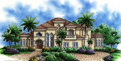 House Plan 60450 | Florida Mediterranean Style Plan with 4428 Sq Ft, 5 Bedrooms, 5 Bathrooms, 2 Car Garage Elevation