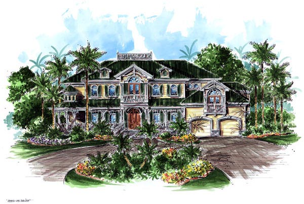 Florida Mediterranean Victorian House Plan 60469 Elevation