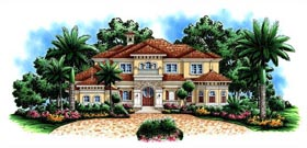 House Plan 60475 | Florida Mediterranean Style Plan with 6197 Sq Ft, 4 Bedrooms, 6 Bathrooms, 2 Car Garage Elevation