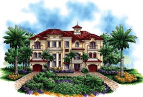 House Plan 60494 | Florida Mediterranean Style Plan with 6162 Sq Ft, 4 Bedrooms, 5 Bathrooms, 3 Car Garage Elevation