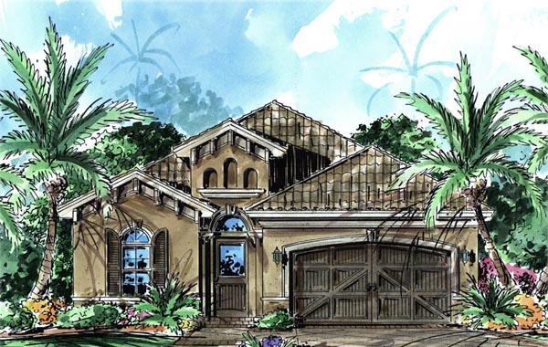 House Plan 60496 | Florida Mediterranean Style Plan with 1758 Sq Ft, 2 Bedrooms, 2 Bathrooms, 2 Car Garage Elevation